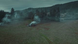 4K Aerial Flying Over Burn Piles