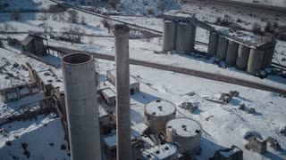 4K Aerial Over Abandoned Cement Factory