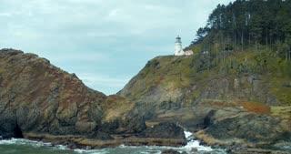 4K Aerial Shot of Oregon Lighthouse on Cliff