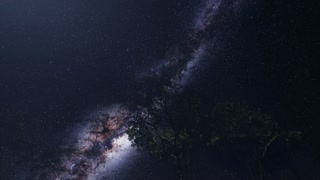 4K Astro of Milky Way Galaxy over Alpine Forest. Elements of this image furnished by NASA