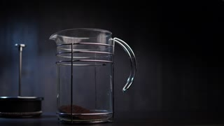 4K Slow Mo Shot Pouring Water into French Press