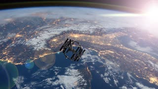 4K Space station tilt shot in orbit around earth. ISS. Elements of this image furnished by NASA