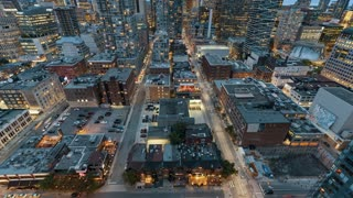 4K Timelapse Sequence of Toronto, Canada - Motion Time Lapse at Blue Hour