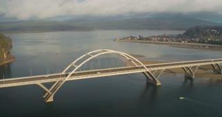 4K UHD Aerial Flying Over Waldport Oregon Bridge