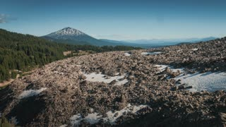 4K UHD Aerial Flying Towards Mount Bachelor in Oregon