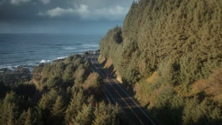 4K UHD Aerial of Truck Driving Along Highway 101 on Oregon Coast