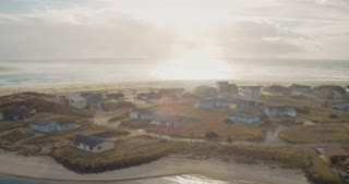 4K UHD Aerial on Beachside Town on Oregon Coast