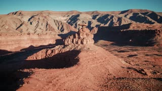 4K UHD Aerial Shot Circling Around Mexican Hat Rock in Arizona
