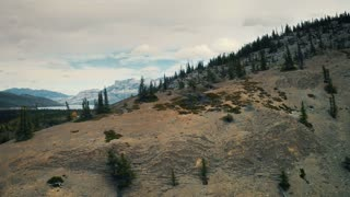 4K UHD Aerial Shot Flying Over Bare Hill in Jasper National Park Canada
