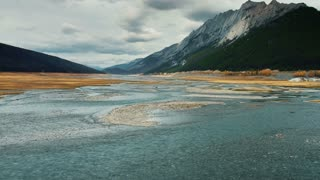 4K UHD Aerial Shot Flying Over Lake in Jasper National Park
