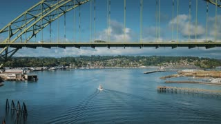 4K UHD Aerial Shot of Newport Oregon Bridge and Bayfront