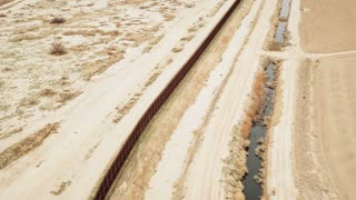 4K UHD Aerial Shot of Mexican Border Wall