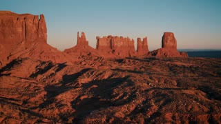 4K UHD Aerial Shot of Monument Valley at Sunset