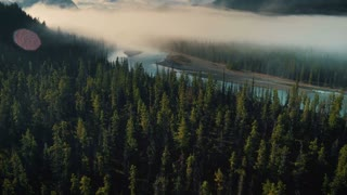 4K/UHD Drone of Jasper National Park River