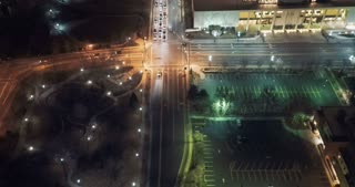 4K/UHD Tilt Up Aerial of Downtown Salt Lake City at Night