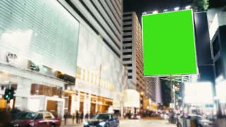 a Billboard With a Green Screen .time Lapse