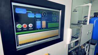 A screen of the dialysis water purification machine.