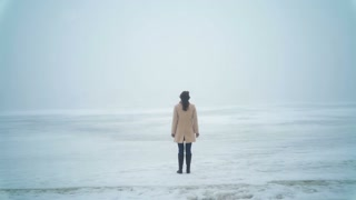 A woman stands in a snowy field during bad weather