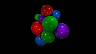 Abstract background with chaotic movement colorful spheres. 3d rendering