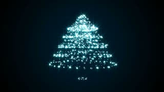 Abstract background with particles christmas tree. Seamless loop
