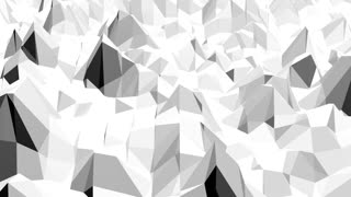 Abstract black and white low poly waving 3D surface as background. Grey abstract geometric vibrating environment or pulsating background in cartoon low poly popular stylish 3D design.