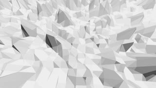 Abstract black and white low poly waving 3D surface as mathematical visualization. Grey abstract geometric vibrating environment or pulsating background in cartoon low poly popular stylish 3D design.