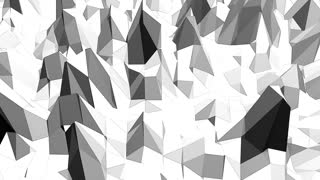 Abstract black and white low poly waving 3D surface as scientific visualization. Grey abstract geometric vibrating environment or pulsating background in cartoon low poly popular stylish 3D design. .