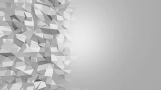 Abstract black and white low poly waving surface as landscape or molecular structure. Grey abstract geometric vibrating environment or pulsating background. Free space.