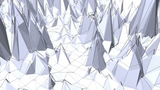 Abstract black and white low poly waving surface as sci-fi background. Grey abstract geometric vibrating environment or pulsating background in cartoon low poly popular stylish 3D design.