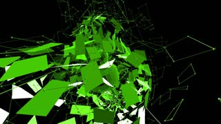 Abstract green waving 3D grid or mesh of pulsating geometric objects. Use as chemical environment. Green geometric vibrating environment or pulsating math background. Flying polygons