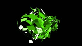 Abstract green waving 3D grid or mesh of pulsating geometric objects. Use as crystal grid. Green geometric vibrating environment or pulsating math background. Flying polygons