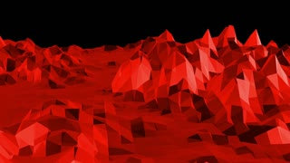 Abstract red low poly surface as math environment in stylish low poly design. Polygonal mosaic background with vertex, spikes. Red low poly background waving. Cartoon modern 3D design. Free space