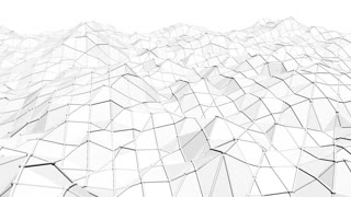 Abstract simple black and white low poly waving 3D surface as simple background. Grey geometric vibrating environment or pulsating background in cartoon low poly popular stylish 3D design.