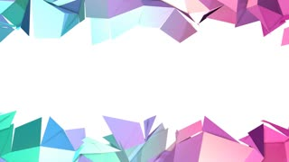 Abstract simple blue pink low poly 3D split surface as element motion graphic. Soft low poly motion background of shifting pure blue pink polygons. 4K Fullhd seamless loop background with copy space
