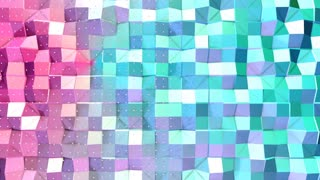 Abstract simple blue pink low poly 3D surface and flying white crystals as Abstract simple backdrop. Soft geometric low poly background of pure blue pink polygons. 4K Fullhd seamless loop background.