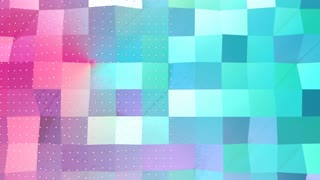 Abstract simple blue pink low poly 3D surface and flying white crystals as cartoon backdrop. Soft geometric low poly background of pure blue pink polygons. 4K Fullhd seamless loop background.