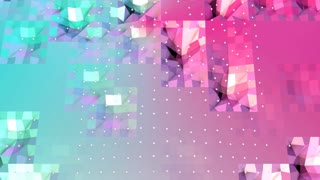 Abstract simple blue pink low poly 3D surface and flying white crystals as cyber background. Soft geometric low poly background with copy space. 4K Fullhd seamless loop background.