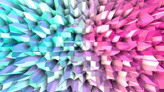 Abstract simple blue pink low poly 3D surface and flying white crystals as cybernetic background. Soft geometric low poly background of pure blue pink polygons. 4K Fullhd seamless loop background.