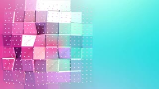Abstract simple blue pink low poly 3D surface and flying white crystals as cybernetic field. Soft geometric low poly background with copy space. 4K Fullhd seamless loop background.