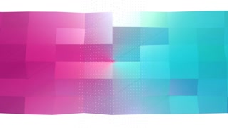 Abstract simple blue pink low poly 3D surface and flying white crystals as transforming environment. Soft geometric low poly background of pure blue pink polygons. 4K Fullhd seamless loop background.