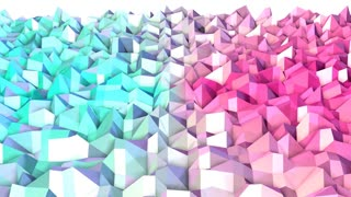 Abstract simple blue pink low poly 3D surface as backdrop. Soft geometric low poly motion background of shifting pure blue pink polygons. 4K Fullhd seamless loop background