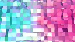 Abstract simple blue pink low poly 3D surface as cool backdrop. Soft geometric low poly motion background of shifting pure blue pink polygons. 4K Fullhd seamless loop background
