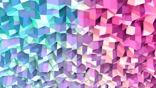 Abstract simple blue pink low poly 3D surface as dream background. Soft geometric low poly motion background of shifting pure blue pink polygons. 4K Fullhd seamless loop background