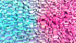 Abstract simple blue pink low poly 3D surface as geometric structure. Soft geometric low poly motion background of shifting pure blue pink polygons. 4K Fullhd seamless loop background