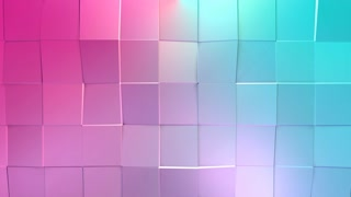 Abstract simple blue pink low poly 3D surface as lovely background. Soft geometric low poly motion background of shifting pure blue pink polygons. 4K Fullhd seamless loop background with copy space