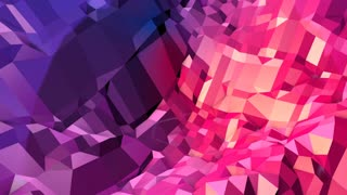 Abstract simple blue red low poly 3D surface as complexity background. Soft geometric low poly motion background with pure blue red polygons. 4K Fullhd seamless loop background with gradient blue red