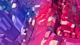 Abstract simple blue red low poly 3D surface as elegant pattern environment. Soft geometric low poly motion background with pure blue red polygons. 4K Fullhd seamless loop background