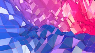Abstract simple blue red low poly 3D surface as luxury environment. Soft geometric low poly motion background with pure blue red polygons. 4K Fullhd seamless loop background with gradient blue red