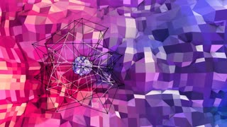 Abstract simple blue red low poly 3D surface as mathematical visualization. Soft geometric low poly motion background with pure blue red polygons. 4K Fullhd seamless loop background