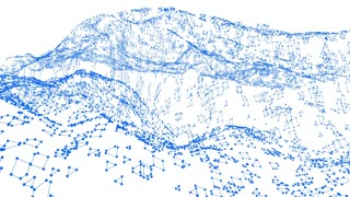 Abstract simple blue waving 3D grid or mesh as futuristic landscape. Blue geometric vibrating environment or pulsating math background.